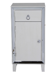 36' Antique White Mirrored Accent Cabinet with a Drawer and a Door