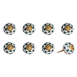 "1.5"" x 1.5"" x 1.5"" Green, White And Gold - Knobs 8-Pack"