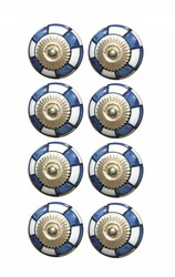 "1.5"" X 1.5"" X 1.5"" Hues Of Blue, White And Gold 8 Pack Knob-It"