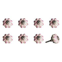 """1.5"""" x 1.5"""" x 1.5"""" Hues Of Cream, Pink And Silver - Knobs 8-Pack"""