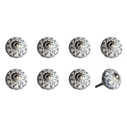 "1.5"" X 1.5"" X 1.5"" Hues Of Gray, Cream And Silver 8 Pack Knob-It"