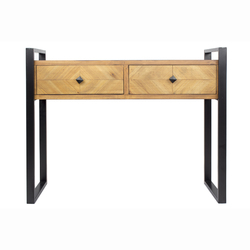 """31.5"""" Brown Metal, Wood, and MDF Console Table with 2 Drawers"""