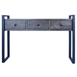 """31.5"""" Metal, Wood, and MDF Console Table with 3 Drawers"""