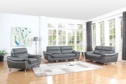 "108"" Charming Grey Leather Sofa Set"