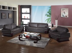 """110"""" Dazzling Brown Leather Couch Set"""