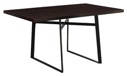 """30"""" Cappuccino Particle Board, Hollow Core, And Black Metal Dining Table"""