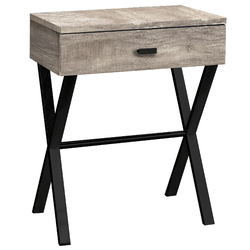 "22.25"" Taupe Reclaimed Wood Particle Board and Black Metal Accent Table"