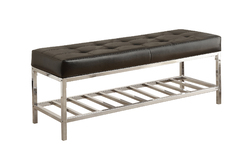 "16.5"" x 48.5"" x 18"" Black Leather-Look/Chrome Metal - Bench"