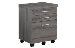 """17'.75"""" x 18'.25"""" x 25'.25"""" Dark Taupe, Black, Particle Board, 3 Drawers - Filing Cabinet"""