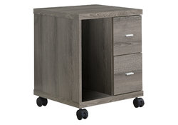 """17.75"""" x 17.75"""" x 23"""" Dark Taupe, Particle Board, Hollow-Core, 2 Drawers - Office Cabinet"""