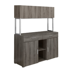 """16.25"""" x 47.25"""" x 60"""" Dark Taupe, Silver, Particle Board, Hollow-Core, Metal - Office Cabinet"""