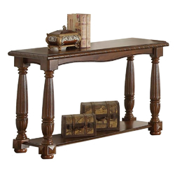 Wooden Console Table With Bottom Shelf, Brown