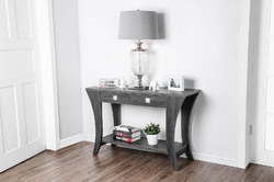 Wooden Sofa Table with Swooping Curled Legs, Gray