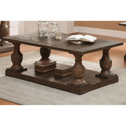 Wooden Sofa Table With Oversized Balustrade Turned Legs, Brown