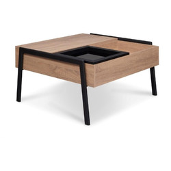 Wooden Coffee Table with Lift Top and Removable Glass Tray, Natural Brown and Black