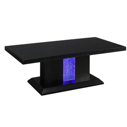 Wooden Coffee Table with LED Inlaid Pedestal Base and Beveled Edges, Black