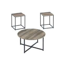 Wooden Table Set with Sturdy Metal Base, Set of Three, Gray and Brown