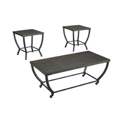 Wooden Table Set with Curved Steel Base, Set of Three, Gray