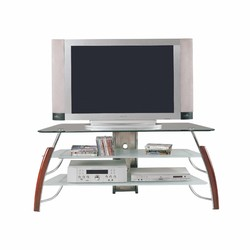 """18"""" X 50"""" X 22"""" Metal Wood Compact TV Stand. Glass Top: 8mm Clear Glass with Beveled Edge"""