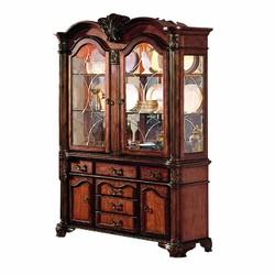 "21"" X 61"" X 88"" Cherry Wood Poly Resin Glass Mirror Hutch & Buffet"