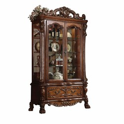 "20"" X 51"" X 89"" Cherry Oak Wood Poly Resin Glass Curio Cabinet"