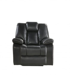 """39"""" X 39"""" X 43"""" Black Leather-Aire Upholstery Recliner (Power Motion)"""