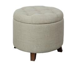 """20"""" X 20"""" X 17"""" Tan Linen Upholstery Wood Leg Ottoman w/Storage"""