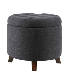 "20"" X 20"" X 17"" Dark Blue Linen Upholstery Wood Leg Ottoman w/Storage"