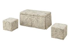 "18"" X 36"" X 18"" Pattern Fabric Upholstery 3Pc Pk Bench & Ottomans"