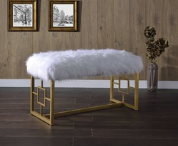 """18"""" X 38"""" X 21"""" White Faux Fur Gold Metal Upholstered (Seat) Bench"""