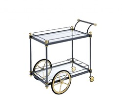 """20"""" X 31"""" X 31"""" Black Gold Clear Glass Metal Casters Serving Cart"""