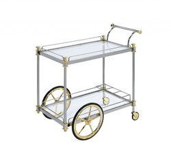 """20"""" X 31"""" X 31"""" Silver Gold Clear Glass Metal Casters Serving Cart"""