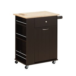 "18"" X 29"" X 34"" Natural Wenge Wood Casters Kitchen Cart"