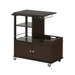 "16"" X 34"" X 34"" Wenge Wood Casters Kitchen Cart"