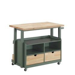 "24"" X 43"" X 35"" Natural Green Wood Casters Kitchen Cart"