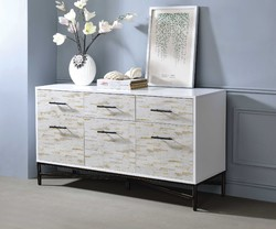 Wooden Console Table with Three Drawers And Two Door Cabinets, White & Black