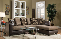 """107"""" X 76"""" X 37"""" Object Emboss Espresso 100% PU, 100% Polyester Blend Sectional"""