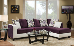 """107"""" X 76"""" X 37"""" Implosion Purple Stark White 100% PU, 100% Polyester Blend Sectional"""