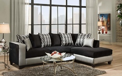 """107"""" X 76"""" X 37"""" Shimmer Silver Implosion Black 100% PU, 100% Polyester Blend Sectional"""
