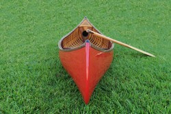 """26.5"""" x 117"""" x 20"""" Red Wooden Canoe With Ribs Curved Bow"""