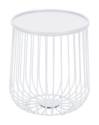 """14.4"""" x 14.4"""" x 16.1"""" White, Steel, Side Table"""