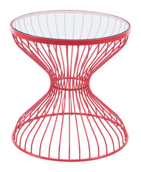 """19.7"""" x 19.7"""" x 19.7"""" Red, Tempered Glass, Steel, Side Table"""