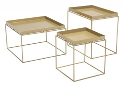 """23.6"""" x 23.6"""" x 15.7"""" Gold, Steel, Nesting Table"""