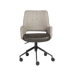 """21.26"""" X 25.60"""" X 37.21"""" Office Chair in Light Gray Fabric and Dark Gray Leatherette with Black Base"""