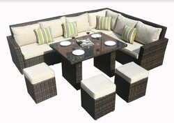 """180.96"""" X 33.54"""" X 34.71"""" Brown 8Piece Outdoor Sectional Set with Cushions"""