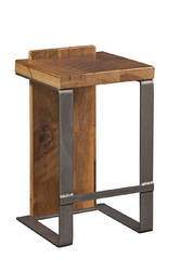 "16"" X 14"" X 24"" Natural Reclaimed Oak And Steel Stool"