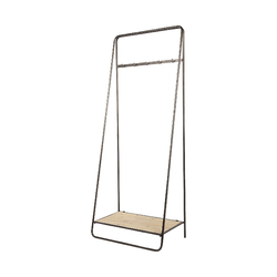 Category: Dropship Organization, SKU #376447, Title: Black Pipe Metal and Wood Shelf Hall Tree