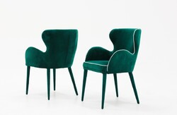 Category: Dropship Kitchen, SKU #384359, Title: Modern Green Velvet with White Dining or Side Chair