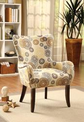 Accent Chair, Fabric & Espresso - Fabric (100% Polyester),  Fabric & Espresso