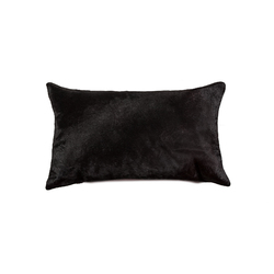 "12"" X 20"" X 5"" Black Cowhide Pillow"